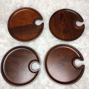 Pottery Barn Wood Mingling Appetizer Plates Set 4